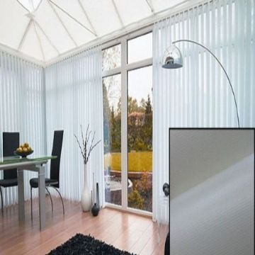 Made to Measure Blackout PVC Vertical Blinds in Linen With Heat Reflective Coating